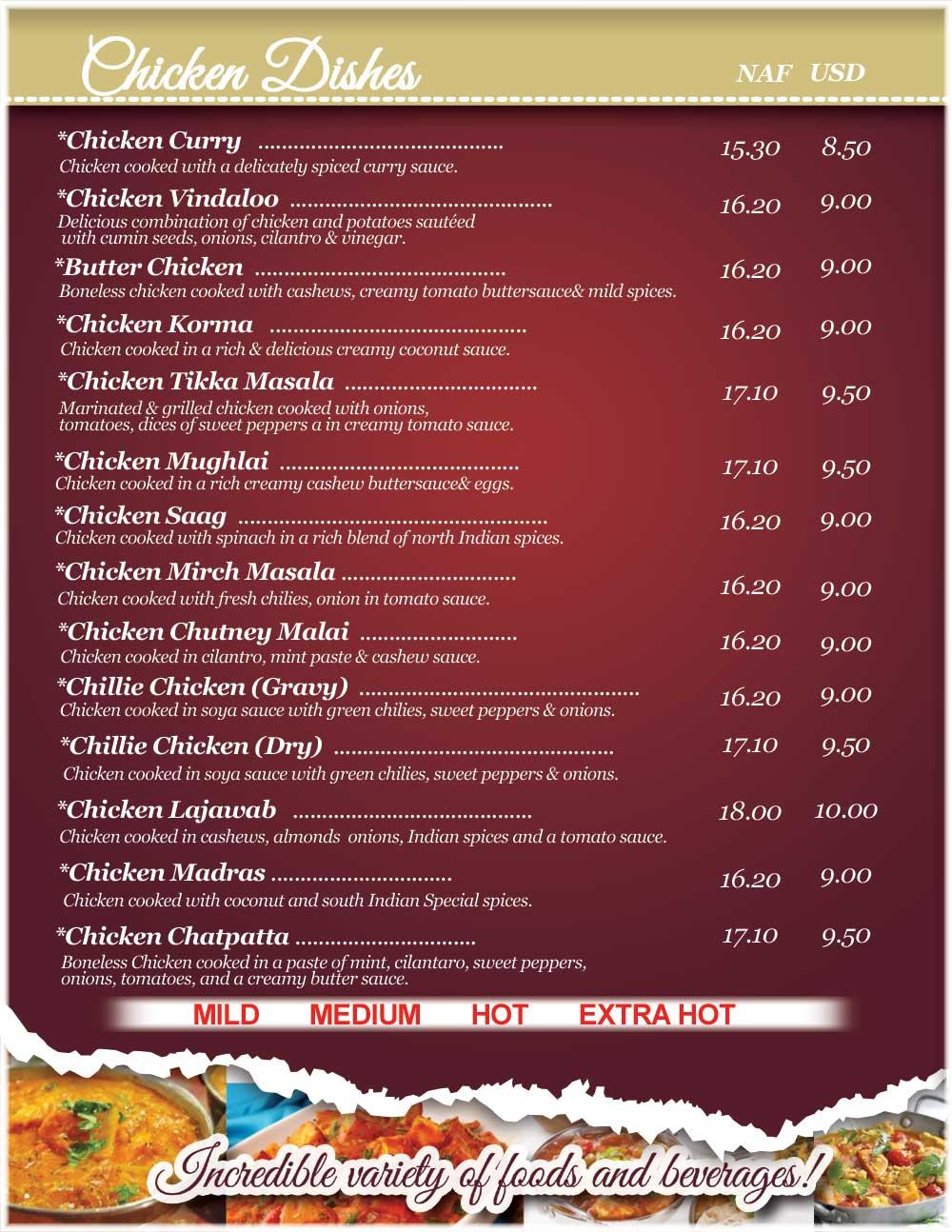 Menu chicken dishes shiv shakti bar and indian for Alaska fish and chicken menu