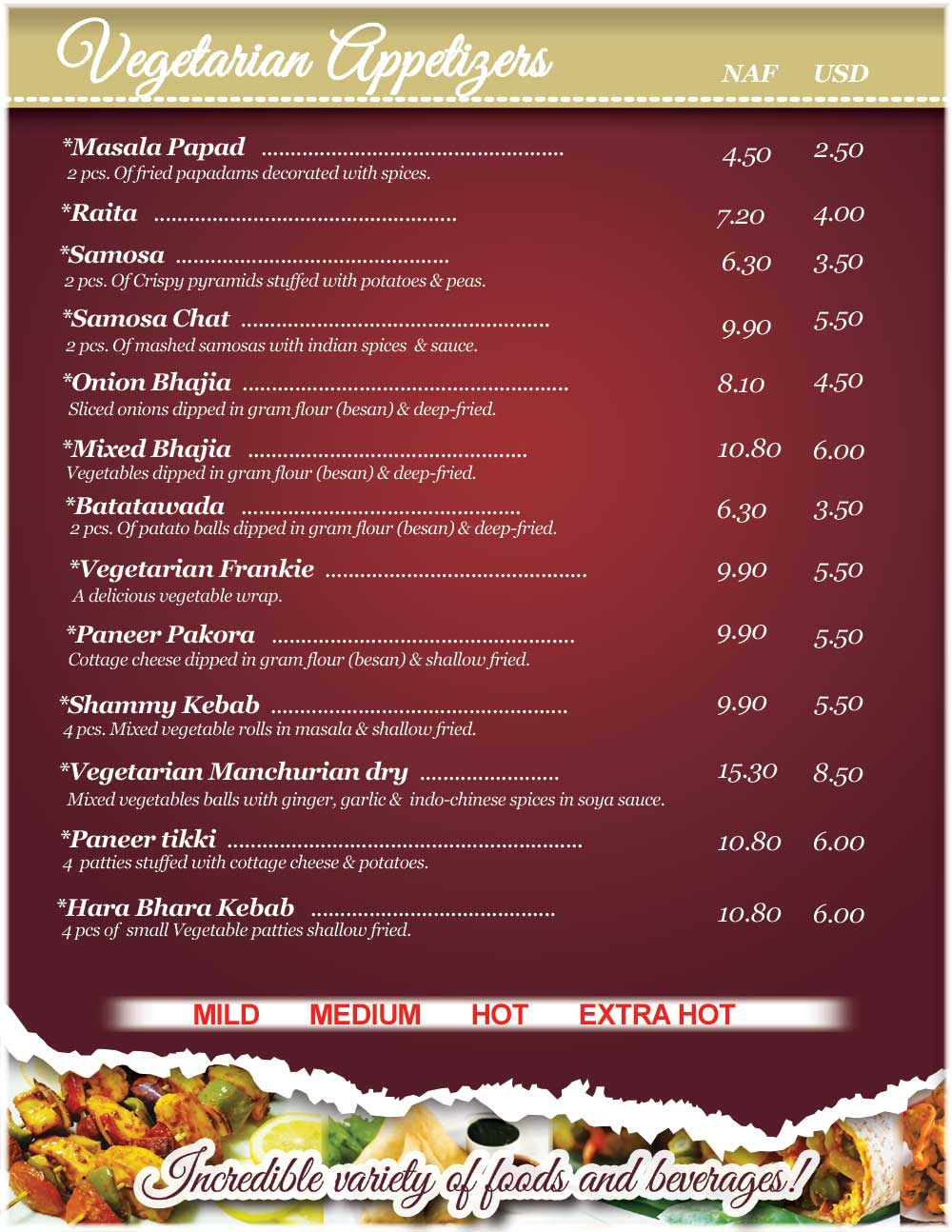 Menu vegetarian appetizers shiv shakti bar and indian for African cuisine menu